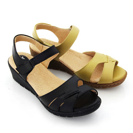 【GREEN PHOENIX】交叉沾黏式手縫全真皮氣墊小坡跟涼鞋