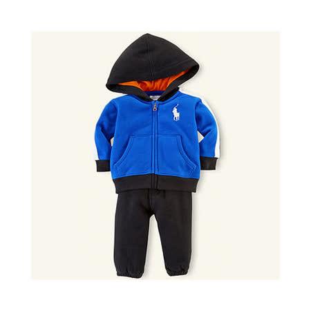 美國 Ralph Lauren 童裝 嬰兒 上衣 外套 長袖連帽 長褲 褲子 套裝 藍色 18M (RL0022Blue)