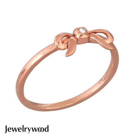 Jewelrywood 純銀浪漫玫瑰金緞帶鑽石戒指