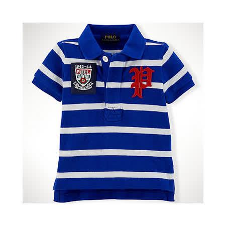 美國 Ralph Lauren 童裝 嬰兒 上衣 Polo衫 條紋 短袖 藍色 12M (RL0024)