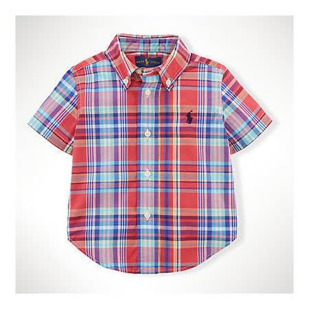 美國 Ralph Lauren 童裝 嬰兒 襯衫 短袖 上衣 格子 紅色 12M 18M 24M (RL0027Red)