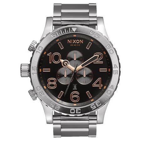 NIXON 51-30 CHRONO 潛龍諜影運動腕錶-玫瑰金x黑x銀