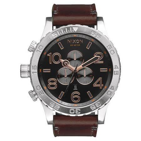NIXON 51-30 CHRONO 潛龍諜影運動腕錶-玫瑰金x黑x咖啡色皮帶