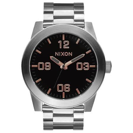 NIXON The CORPORAL SS 曠野風潮時尚運動腕錶-玫瑰金x黑x銀