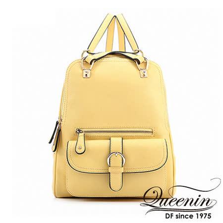 DF Queenin日韓 - 優雅氣質女孩熱銷款2用式後背包-甜檸黃
