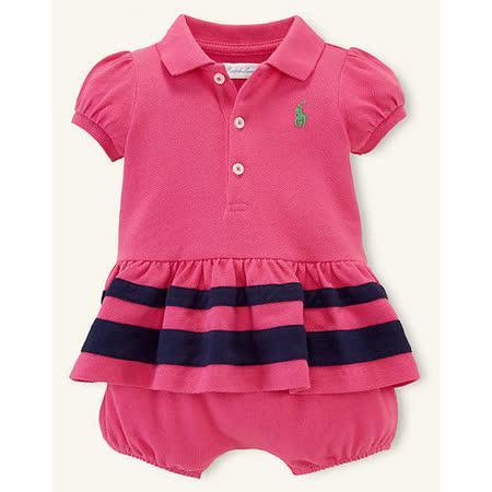 美國 Ralph Lauren 童裝 嬰兒  套裝 Polo衫 蝴蝶袖 短袖 桃紅色 6M 9M (RL0035)