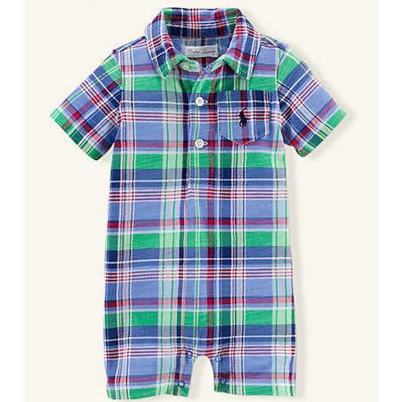 美國 Ralph Lauren 童裝 嬰兒  連身衣 襯衫 短袖 格子 藍色 綠色 6M (RL0037)