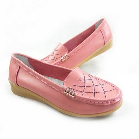 【Moscova】手工真皮系列 經典車線造型女款休閒鞋-玫紅色