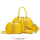 。DearBaby。買一送三質感簡約素面手提肩背包(黃色)-預購