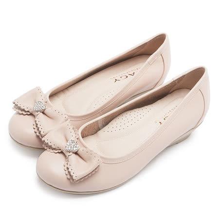 MAGY 輕甜女孩 愛心水鑽點綴花邊蝴蝶結坡跟鞋-粉紅