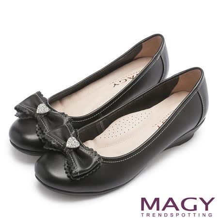MAGY 輕甜女孩 愛心水鑽點綴花邊蝴蝶結坡跟鞋-黑色