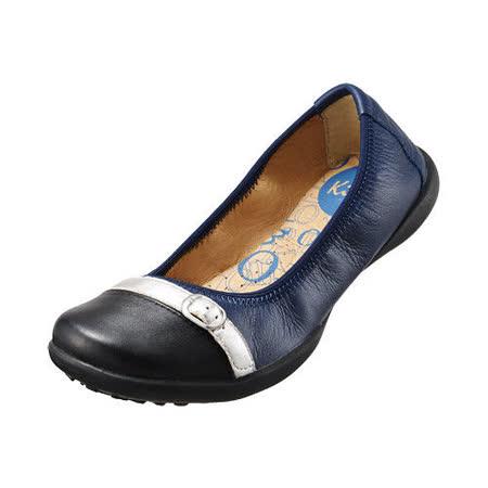【Kimo德國品牌手工氣墊鞋】雙色飾釦真皮芭蕾娃娃鞋_深邃藍(K15SF006326)
