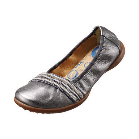 【Kimo德國品牌手工氣墊鞋】鬆緊織帶真皮芭蕾娃娃鞋_時尚灰(K15SF006332)