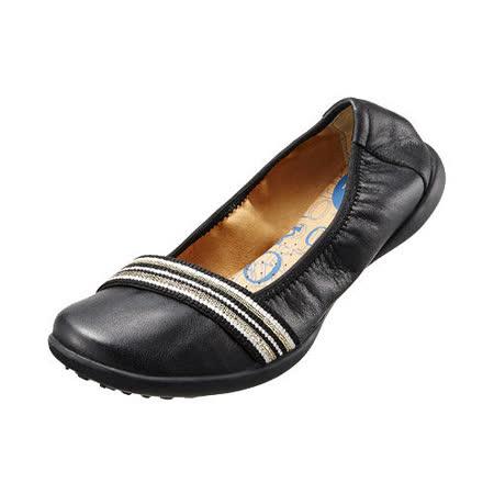 【Kimo德國品牌手工氣墊鞋】鬆緊織帶真皮芭蕾娃娃鞋_氣質黑(K15SF006333)