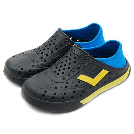 【PONY】女 防水透氣 EN-JOY 二代洞洞休閒鞋 黑藍黃 52U1SA64BK