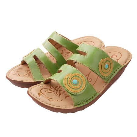【Kimo德國品牌手工氣墊鞋】撞色造型厚底涼拖鞋_春漾綠(K15SF011541)
