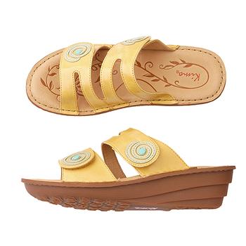 【Kimo德國品牌手工氣墊鞋】撞色造型厚底涼拖鞋_別緻黃(K15SF011545)