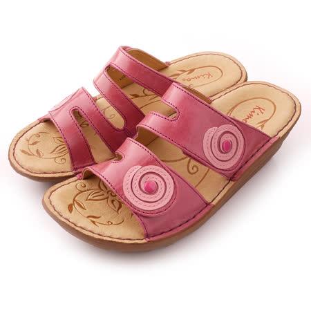 【Kimo德國品牌手工氣墊鞋】撞色造型厚底涼拖鞋_亮彩紅(K15SF011547)