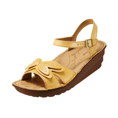 【Kimo德國品牌手工氣墊鞋】花漾立體蝴蝶厚底涼鞋_別緻黃(K15SF011555)