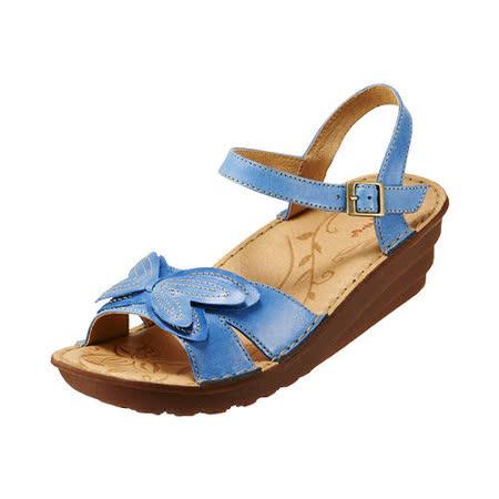 【Kimo德國品牌手工氣墊鞋】花漾立體蝴蝶厚底涼鞋_天空藍(K15SF011556)