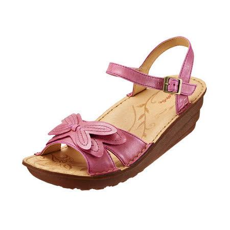 【Kimo德國品牌手工氣墊鞋】花漾立體蝴蝶厚底涼鞋_亮彩紅(K15SF011557)