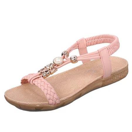 【Maya easy】率性風格編織珍珠平底涼鞋/沙灘鞋 (粉色)
