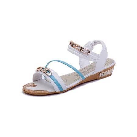 【Maya easy】流線型線條搭配巴黎香頌金屬寶石低跟涼鞋 (白色)