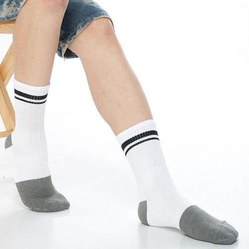 【KEROPPA】可諾帕竹碳運動型健康男襪x2雙C90013-白配黑條