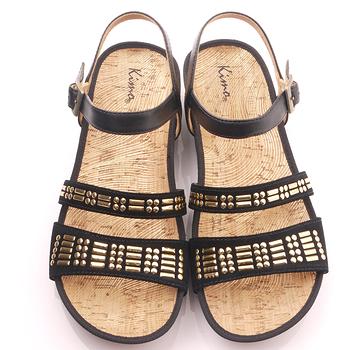 【Kimo德國品牌手工氣墊鞋】民族風閃亮款平底涼鞋_氣質黑(K15SF021263)