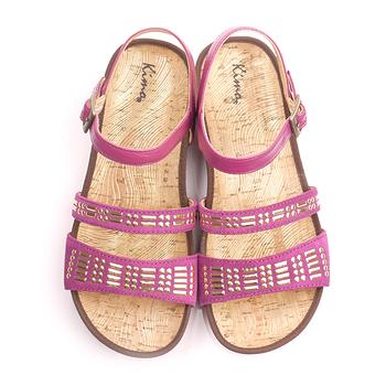 【Kimo德國品牌手工氣墊鞋】民族風閃亮款平底涼鞋(神秘紫K15SF021269)