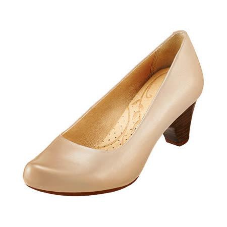 【Kimo德國品牌手工氣墊鞋】簡約風素面跟鞋_輕質米白(K15SF032510)