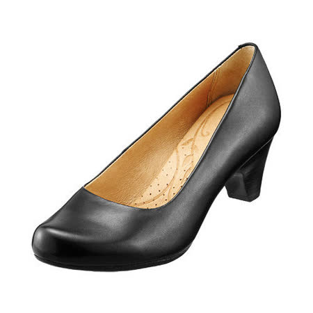 【Kimo德國品牌手工氣墊鞋】簡約風素面跟鞋_氣質黑(K15SF032513)