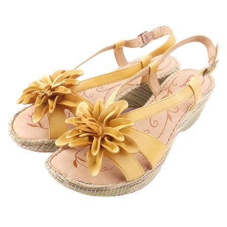 【Kimo德國品牌手工氣墊鞋】立體真皮花瓣厚底涼鞋(別緻黃K15SF040155)