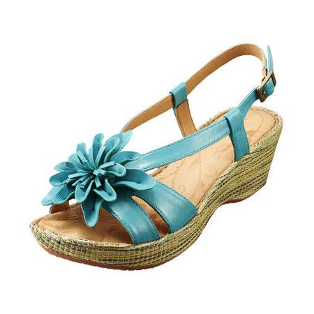 【Kimo德國品牌手工氣墊鞋】立體真皮花瓣厚底涼鞋_春漾綠(K15SF040156)