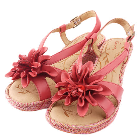 【Kimo德國品牌手工氣墊鞋】立體真皮花瓣厚底涼鞋(亮彩紅K15SF040157)