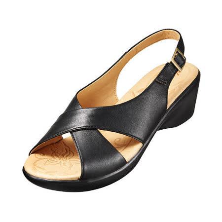 【Kimo德國品牌手工氣墊鞋】交叉復古風中高跟涼鞋_氣質黑(K15SF051143)