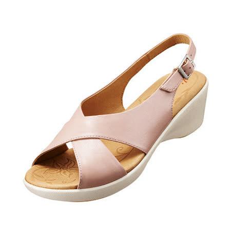 【Kimo德國品牌手工氣墊鞋】交叉復古風中高跟涼鞋_嫩粉紅(K15SF051147)