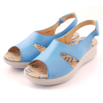 【Kimo德國品牌手工氣墊鞋】造型鏤空魚口厚底涼鞋(天空藍K15SF064146)