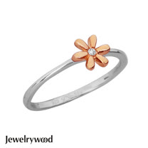 Jewelrywood 純銀優雅雛菊鑽石戒指(玫瑰金)