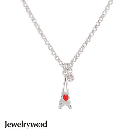 Jewelrywood 純銀浪漫巴黎鐵塔鑽石項鍊