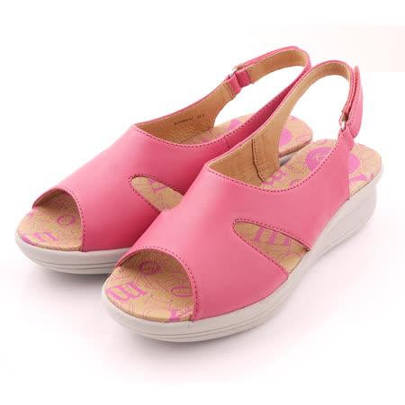 【Kimo德國品牌手工氣墊鞋】造型鏤空魚口厚底涼鞋(亮彩紅K15SF064147)