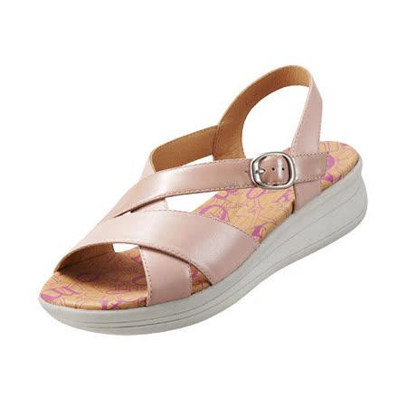 【Kimo德國品牌手工氣墊鞋】雙皮料交叉厚底涼鞋_嫩粉紅(K15SF064167)