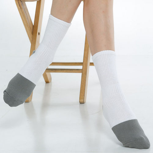 【KEROPPA】可諾帕竹碳運動型健康女襪x2雙C90014-白配灰