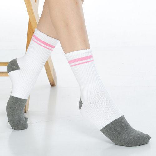 【KEROPPA】可諾帕竹碳運動型健康女襪x2雙C90014-白配粉條