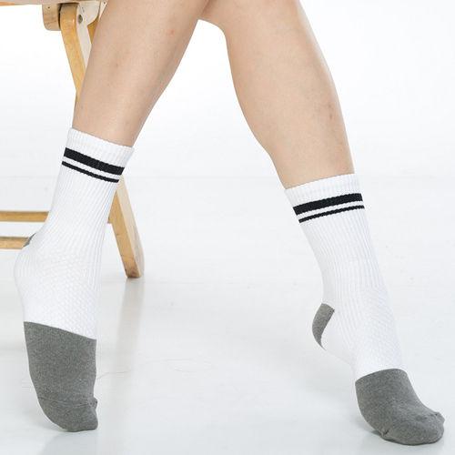 【KEROPPA】可諾帕竹碳運動型健康女襪x2雙C90014-白配黑條