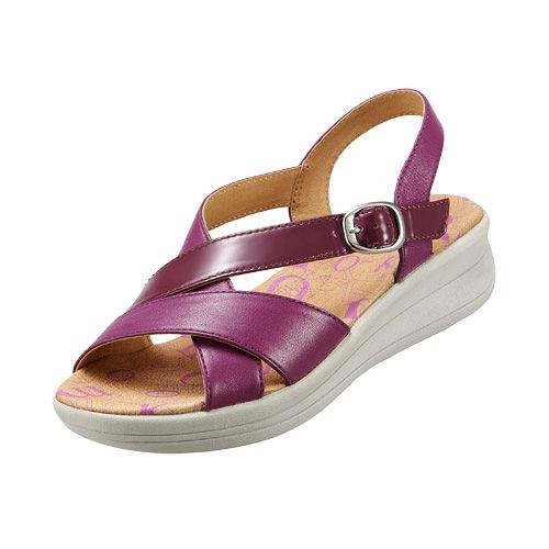 【Kimo德國品牌手工氣墊鞋】雙皮料交叉厚底涼鞋_神秘紫(K15SF064169)