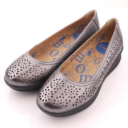 【Kimo德國品牌手工氣墊鞋】鏤空花紋娃娃款厚底鞋_時尚灰(K15SF064172)