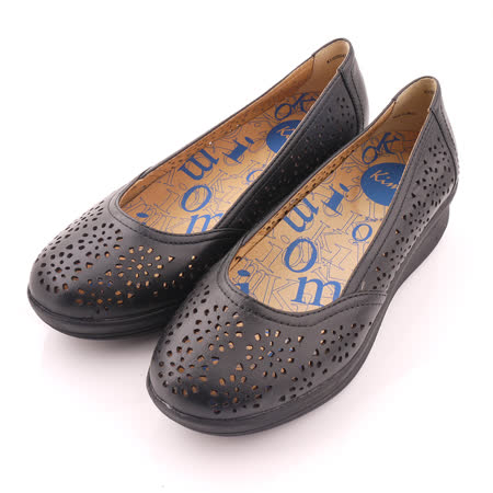 【Kimo德國品牌手工氣墊鞋】鏤空花紋娃娃款厚底鞋_氣質黑(K15SF064173)