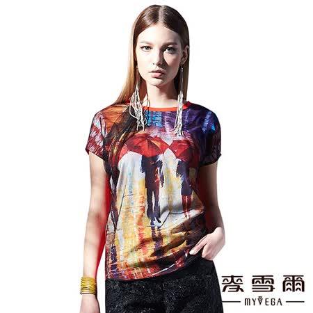 【麥雪爾】圓領網紗手繪雨傘造型T恤