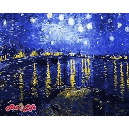 【ArtLife】創意油畫、數字油畫DIY_(梵谷 星空下的羅納河)